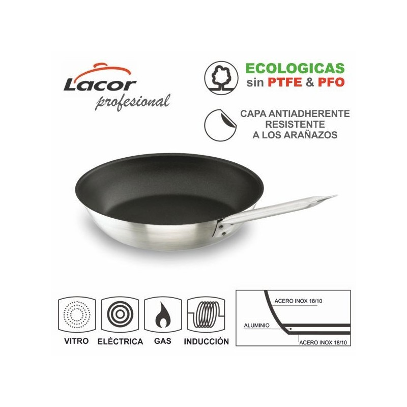 Sartén de acero inoxidable 18/10 Chef Plus