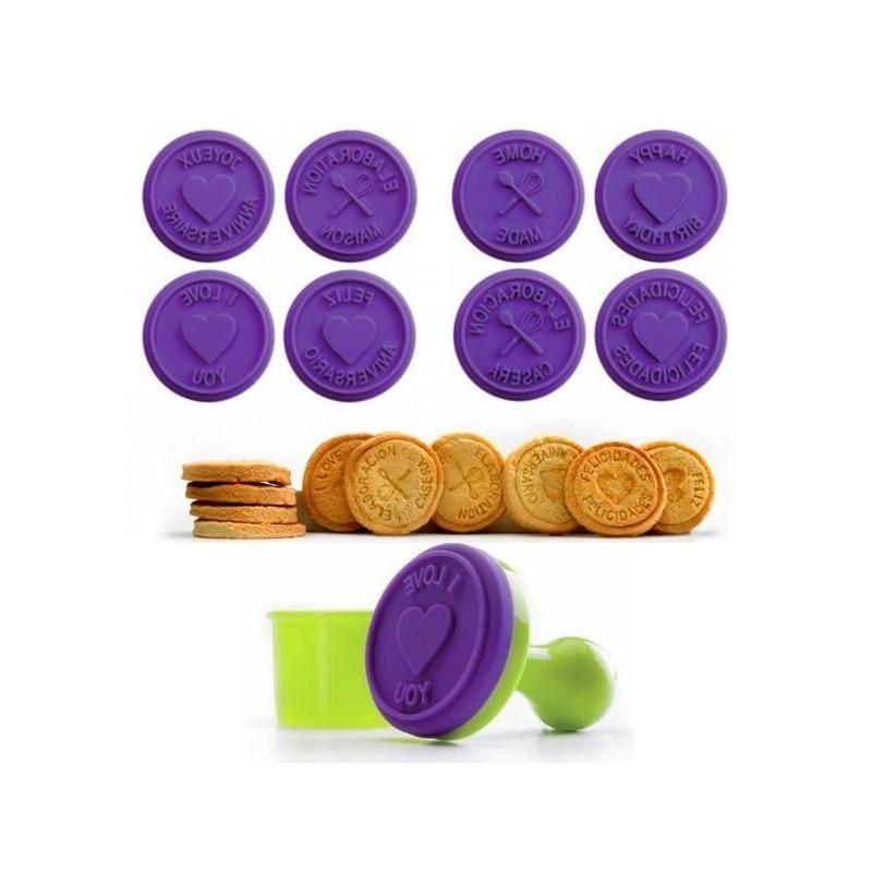 Set 8 sellos para galletas de silicona y cortador
