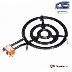 Paellero plano gas butano y propano. Garcima diámetro / aros-50 cm / 3 quemadores