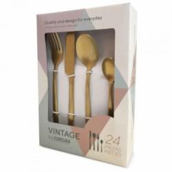 Juego de cubiertos 24 piezas Vintage color oro...