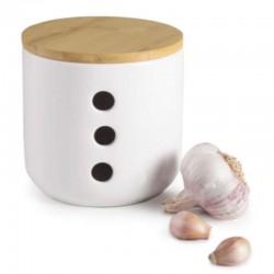 Tarro para ajos de ceramica y bamboo de Ibili