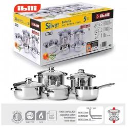 Batería de cocina Silver Line de Ibili 5 piezas