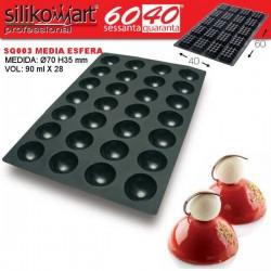 Molde media esferas 60x40 SQ003 de Silikomart Profesional