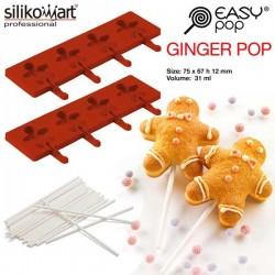 Molde EasyPop Ginger pop de Silikomart (2 moldes + 50 sticks)