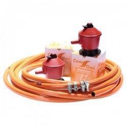 kit de gas con 2 reguladores de 50 mbar para paelleros