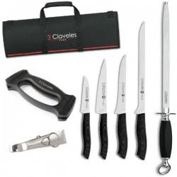 Juego de cuchillos para cortar jamón Rioja de 3 Claveles