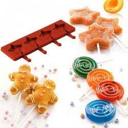 Pack de moldes easyPop de Silikomart (8 moldes + 200 sticks)