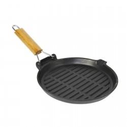 Asadora grill redonda de hierro fundido con mango